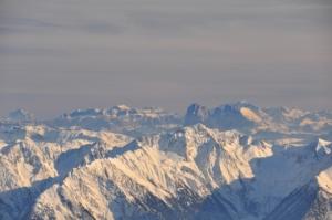 ホッホグルグル最上部「トップ・マウンテン・スター」カフェ下からドロミテ山塊の絶景