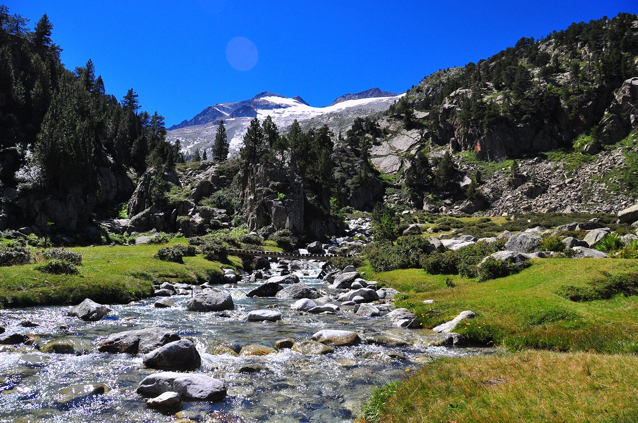 アイギュアイエ湿原に流れ込むアネト氷河の水