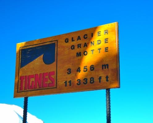 グランモッテ氷河エリアのサイン