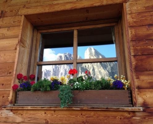 ホテル・ウティア・デ・ボルツ/窓に映るプティア山